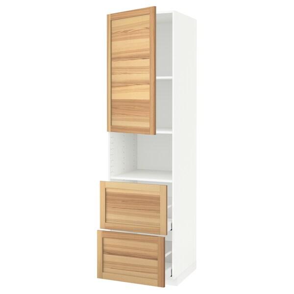 METOD / MAXIMERA Corp înalt microunde+uşă/2 sertare, alb/Torhamn frasin, 60x60x220 cm