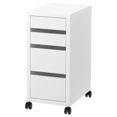 MICKE Comodă cu rotile, alb, 35x75 cm