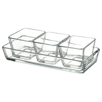 MIXTUR Set vase cuptor/servit, 4buc, sticlă transparentă