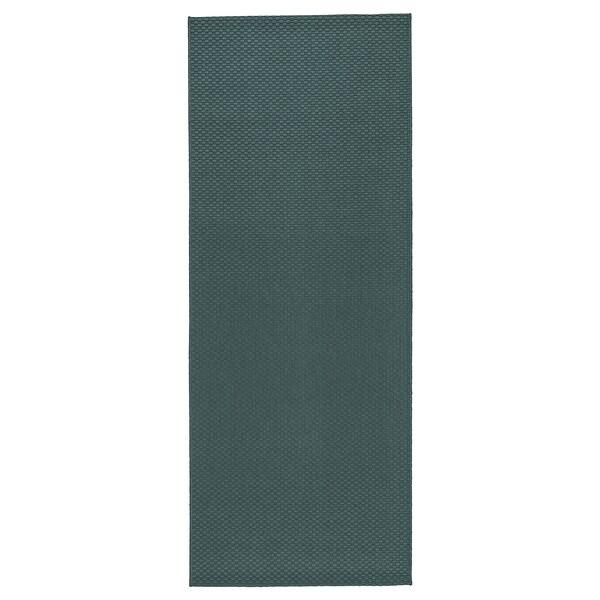 MORUM Covor ţesătură plată, int/ext, gri/turcoaz, 80x200 cm