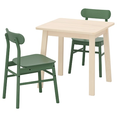 NORRÅKER / RÖNNINGE Masă + 2 scaune, mesteacăn/verde, 74x74 cm
