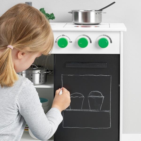 NYBAKAD Bucătărie de jucărie+uşă glisantă, alb, 49x30x50 cm