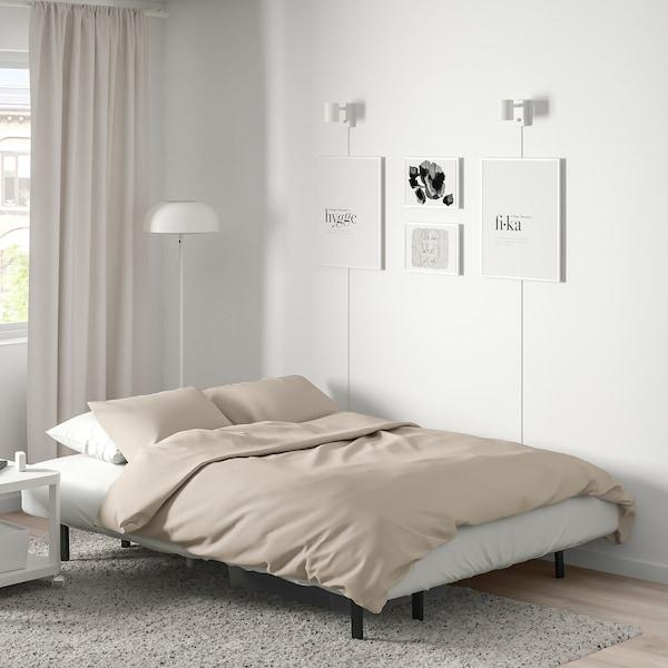 NYHAMN Canapea extensibilă 3 locuri, cu saltea spumă poliuretanică/Knisa gri/bej