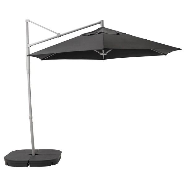 OXNÖ / LINDÖJA umbrelă soare suspendată+bază negru/Svartö gri închis 180 g/m² 265 cm 300 cm