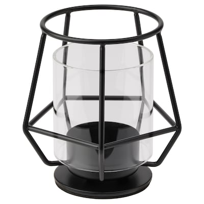 PÄRLBAND Suport lumânare pastilă, negru, 10 cm