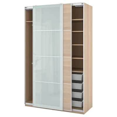 PAX / MEHAMN/SEKKEN Combinaţie dulap, aspect stejar antichizat/sticlă mată, 150x66x236 cm