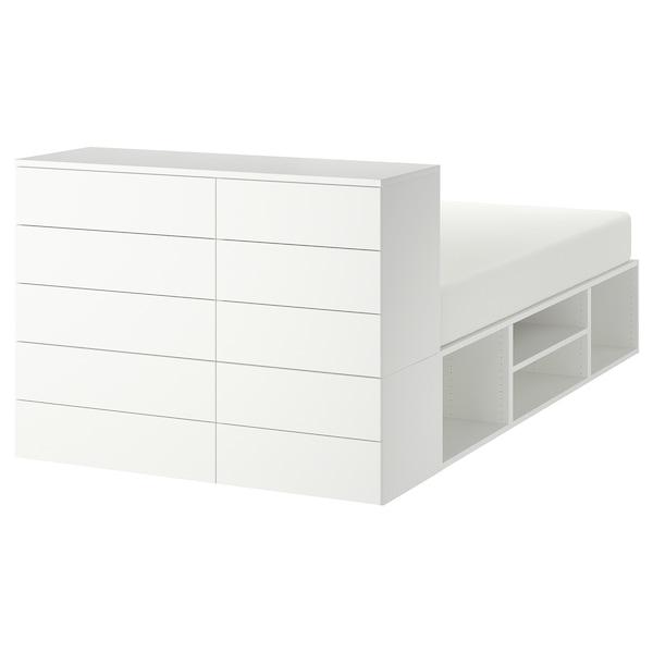PLATSA Cadru pat cu 10 sertare, alb/Fonnes, 140x244x103 cm