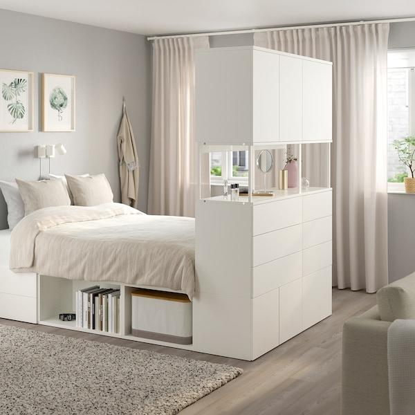 PLATSA Cadru pat cu 6 uşi+12 sertare, alb/Fonnes, 140x244x203 cm