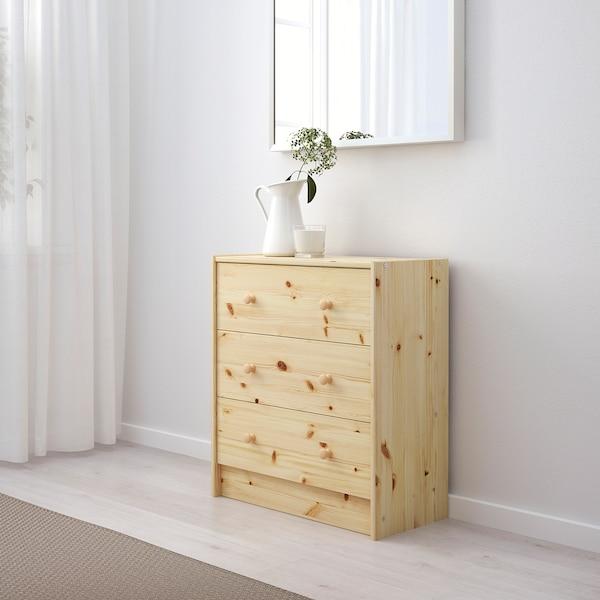RAST Comodă 3 sertare, pin, 62x70 cm