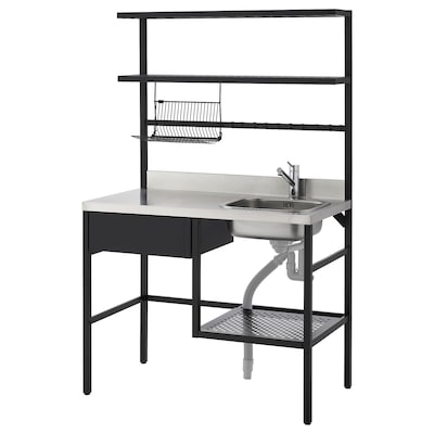 RÅVAROR Mini-bucătărie, negru, 112x60x178 cm