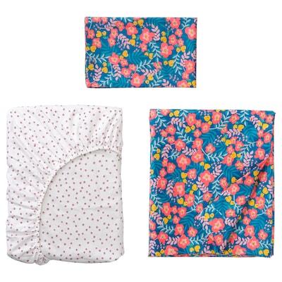 RÖRANDE Lenjerie pătuţ, set 3 piese, model floral/albastru roz, 60x120 cm