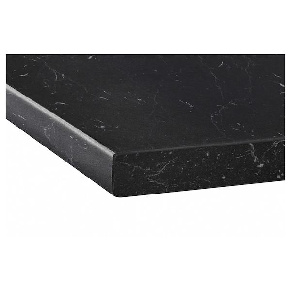 SÄLJAN Blat, negru aspect marmură/laminat, 246x3.8 cm