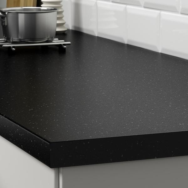 SÄLJAN Blat, negru aspect mineral/laminat, 246x3.8 cm