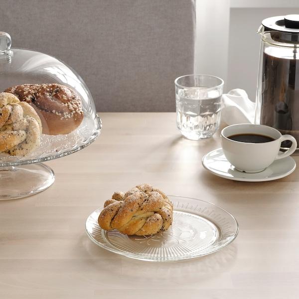 SÄLLSKAPLIG Farfurie aperitiv, sticlă transparentă/cu model, 20 cm