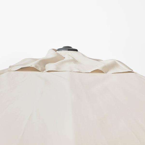 SEGLARÖ / SVARTÖ umbrelă soare suspendată+bază înclinat bej/gri închis 330 cm 240 cm 272 cm