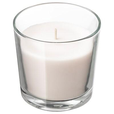 SINNLIG Lumânare parfumată pahar, vanilie/natur, 9 cm