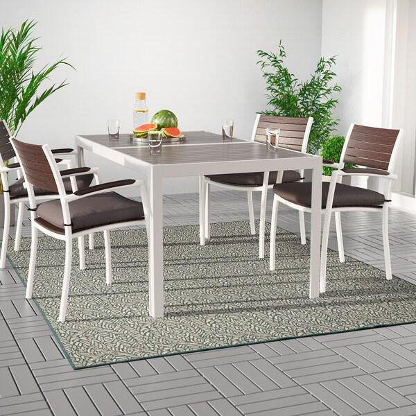 SKELUND Covor ţesătură plată, int/ext, verde-bej, 200x250 cm