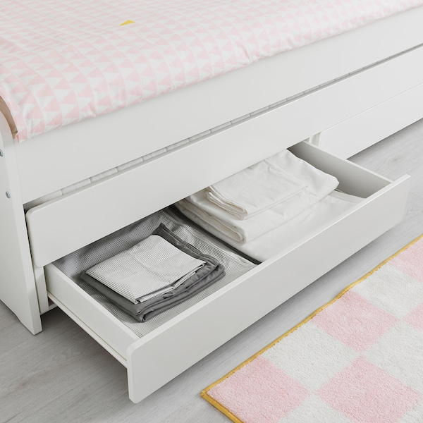 SLÄKT Cadru pat cu depozitare, alb, 90x200 cm