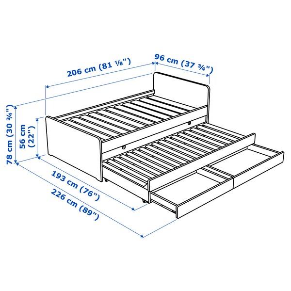 SLÄKT Cadru pat/pat supliment/depozitare, alb, 90x200 cm