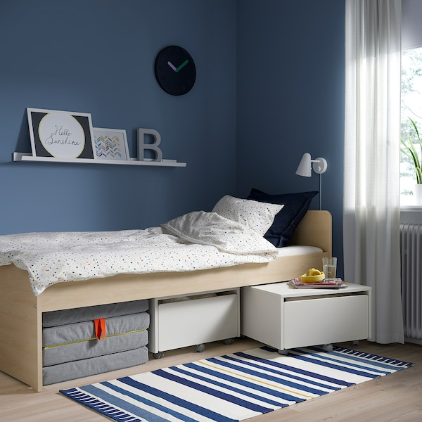 SLÄKT Cutie depozitare+rotile, alb, 62x62x35 cm