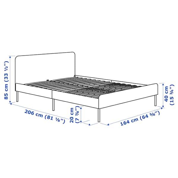 SLATTUM Cadru pat tapiţat, Knisa gri, 160x200 cm