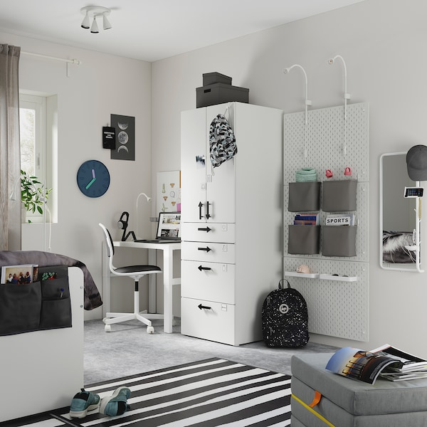 SMÅSTAD Dulap, alb alb/+ 4 sertare, 60x57x181 cm