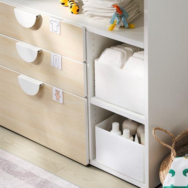 SMÅSTAD Masă înfăşat, alb mesteacăn/+3 sertare, 90x79x100 cm