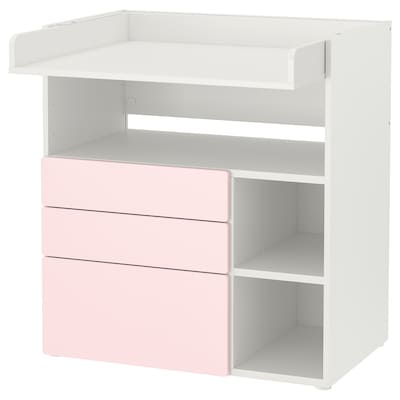 SMÅSTAD Masă înfăşat, alb roz pal/+3 sertare, 90x79x100 cm