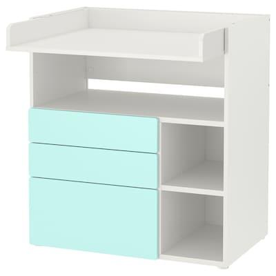 SMÅSTAD Masă înfăşat, alb turcoaz deschis/+3 sertare, 90x79x100 cm