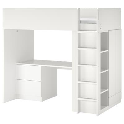 SMÅSTAD Pat supraetajat, alb alb/cu birou +3 sertare, 90x200 cm