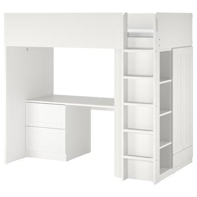 SMÅSTAD Pat supraetajat, alb cu cadru/cu birou +3 sertare, 90x200 cm