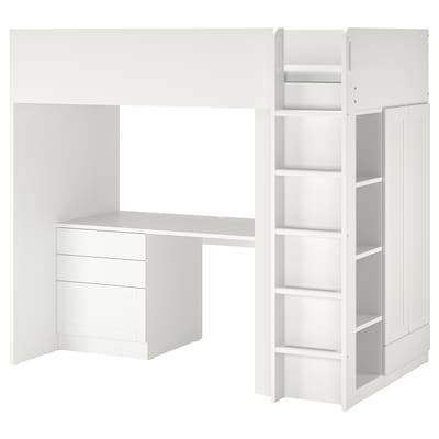 SMÅSTAD Pat supraetajat, alb cu cadru/cu birou + 4 sertare, 90x200 cm