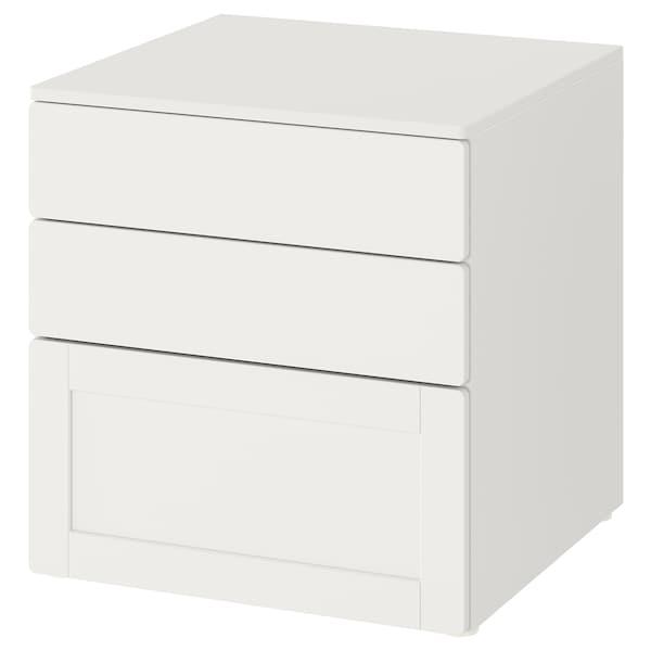 SMÅSTAD / PLATSA Comodă 3 sertare, alb alb/cu cadru, 60x57x63 cm