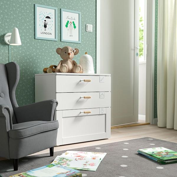 SMÅSTAD / PLATSA Comodă 3 sertare, alb alb/cu cadru, 60x42x63 cm