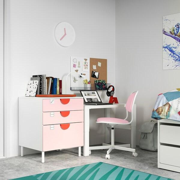 SMÅSTAD / PLATSA Comodă 3 sertare, alb/roz pal, 60x57x63 cm