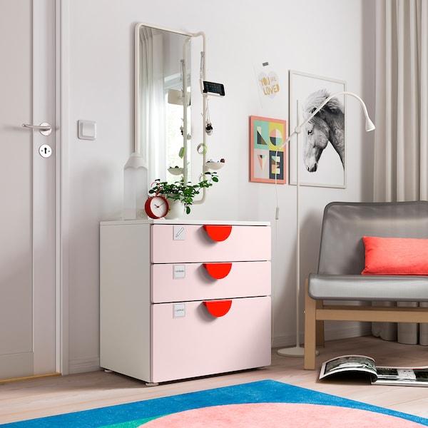 SMÅSTAD / PLATSA Comodă 3 sertare, alb/roz pal, 60x42x63 cm