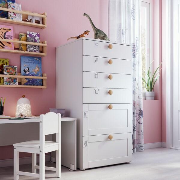 SMÅSTAD / PLATSA Comodă 6 sertare, alb cu cadru, 60x57x123 cm