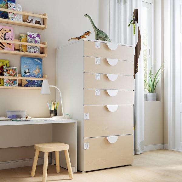SMÅSTAD / PLATSA Comodă 6 sertare, alb/mesteacăn, 60x57x123 cm