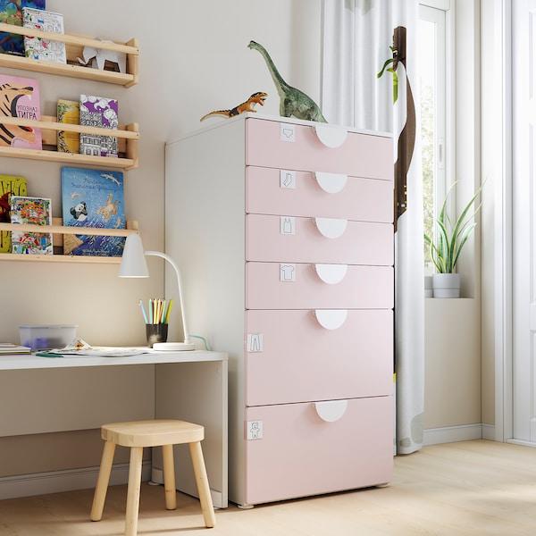 SMÅSTAD / PLATSA Comodă 6 sertare, alb/roz pal, 60x57x123 cm