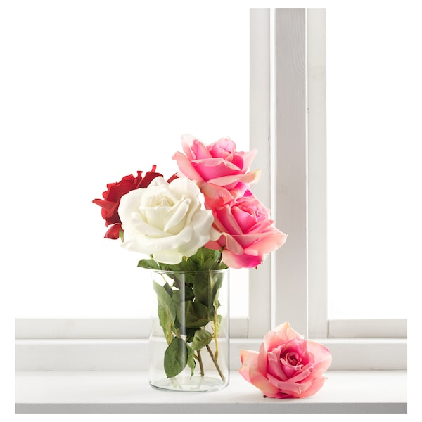 SMYCKA Floare artificială, trandafir/alb, 75 cm