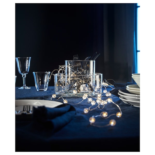 SNÖYRA Ghirlandă luminoasă LED 40 becuri, interior/cu baterii argintiu