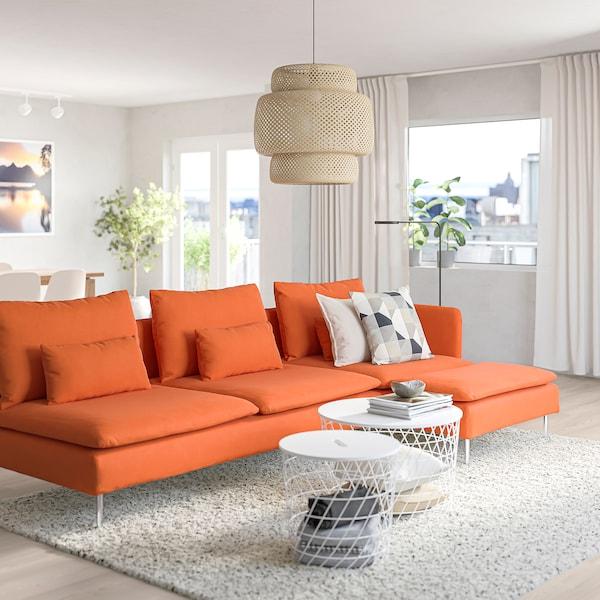 SÖDERHAMN Canapea 4 locuri, cu șezlong capăt deschis/Samsta portocaliu