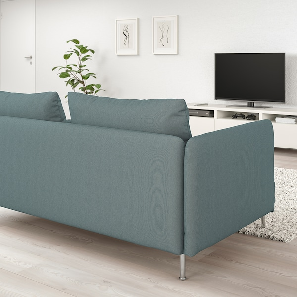 SÖDERHAMN Canapea colț, 4 locuri, capăt deschis/Finnsta turcoaz