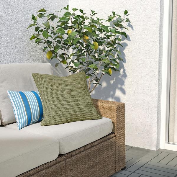SÖTHOLMEN Husă pernă, interior/exterior, bej-verde, 50x50 cm