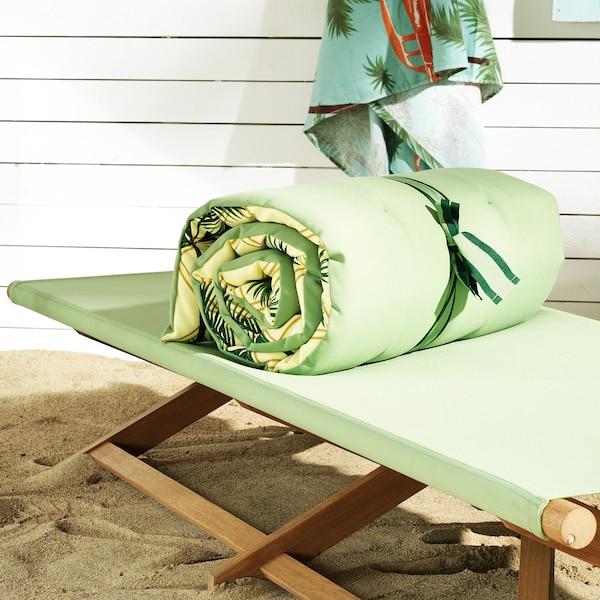 SOLBLEKT şezlong pliant eucalipt/verde 197 cm 70 cm 37 cm 120 kg