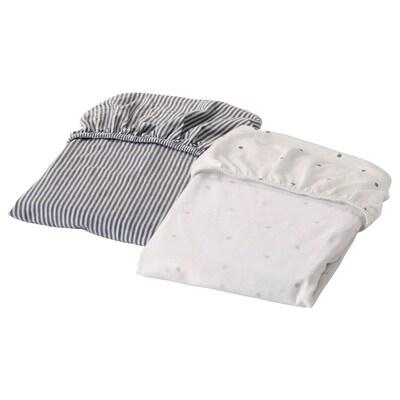 SOLGUL cearşaf elastic pentru pătuţ buline/dungat 81 cm 50 cm 2 bucăţi