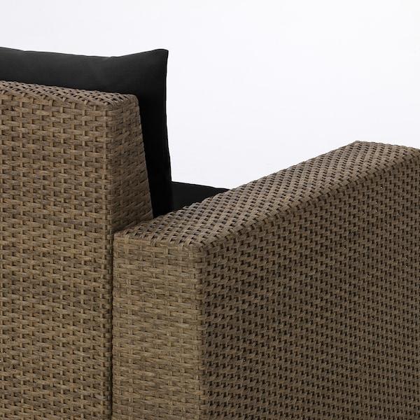SOLLERÖN 4 secţiuni şezut, exterior, maro/Hållö negru