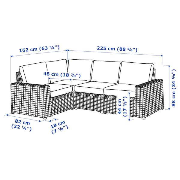 SOLLERÖN Canapea modulară colţ 3loc, ext, gri închis/Frösön/Duvholmen albastru