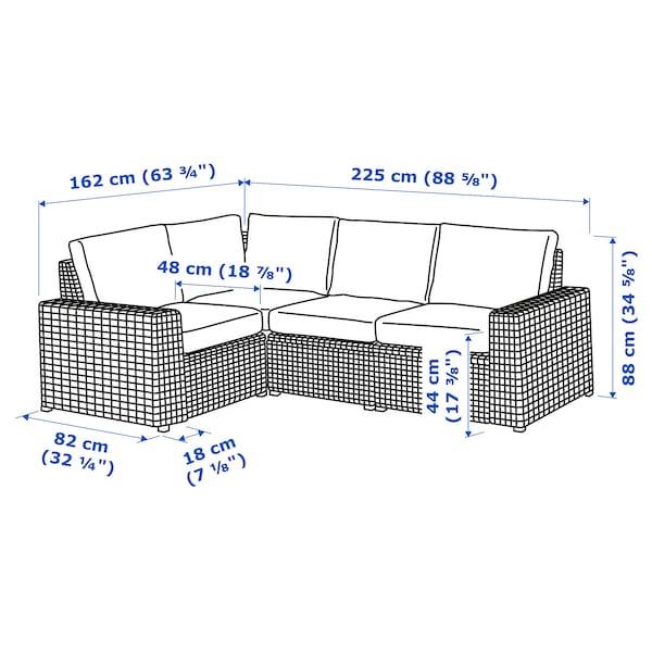 SOLLERÖN Canapea modulară colţ 3loc, ext, gri închis/Frösön/Duvholmen gri închis