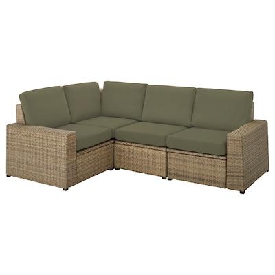 SOLLERÖN Canapea modulară colţ 3loc, ext, maro/Frösön/Duvholmen bej închis-verde